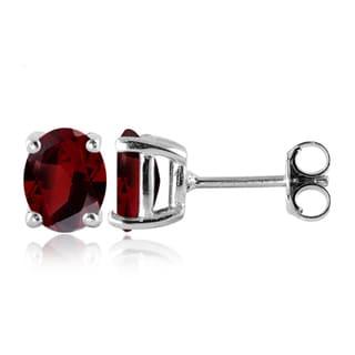 Jewelonfire Sterling Silver 3 1/5ct TW Garnet Gemstone Stud Earrings