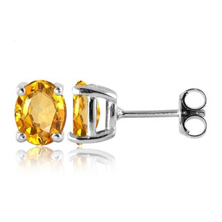 Jewelonfire Sterling Silver, Gold over Sterling Silver Citrine Gemstone Stud Earrings