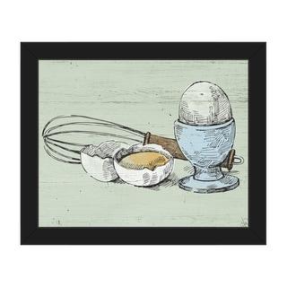 Whisk & Eggs on Green Framed Canvas Wall Art Print