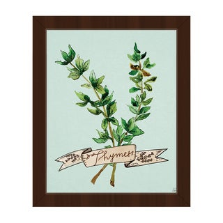Watercolor Thyme on Sky Framed Canvas Wall Art