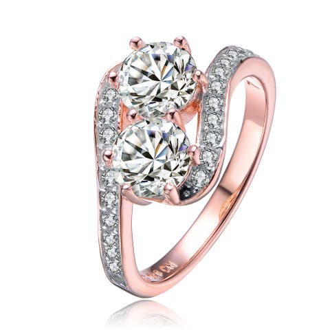 Collette Z Two Stone Cubic Zirconia Ring - White