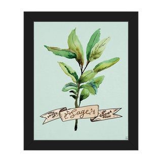 Watercolor Sage on Sky Framed Canvas Wall Art