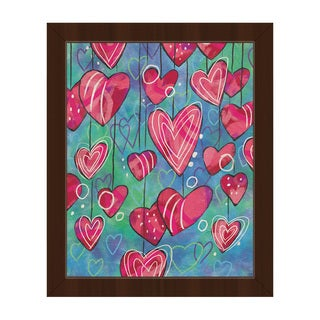 Heart Strings Pink Framed Canvas Wall Art Print