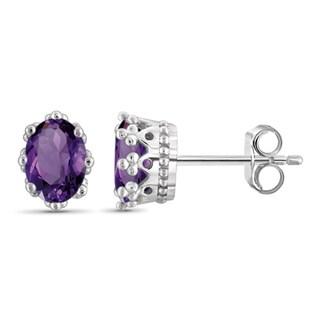 Jewelonfire Sterling Silver, Gold over Sterling Silver Amethyst Gemstone Crown Earrings
