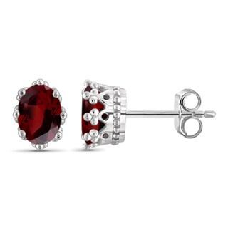 Jewelonfire Sterling Silver 2ct TW Garnet Gemstone Crown Earrings