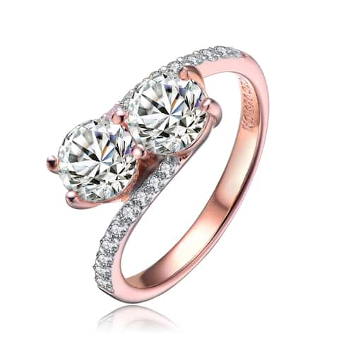 Collette Z Sterling Silver with Rose Gold Plated Two Clear Round Cubic Zirconias with Clear Cubic Zirconias Pave Twisted Ring