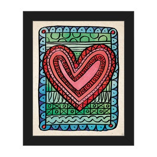 Heart Scribbles Red Framed Canvas Wall Art Print