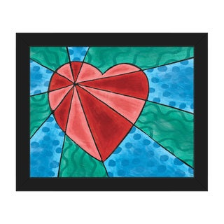 Heart Rays Red Framed Canvas Wall Art Print