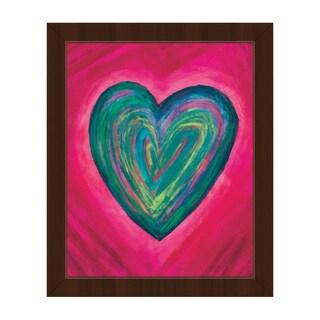 Strata Heart Teal Framed Canvas Wall Art Print