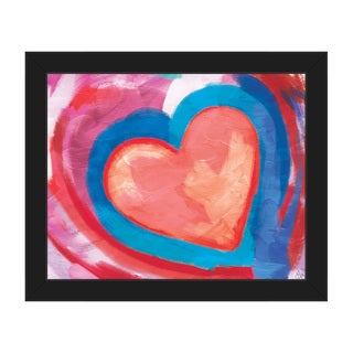 Swimming Pink Heart Framed Canvas Wall Art Print