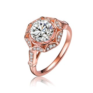 Collette Z Rose Gold Overlay Cubic Zirconia Lavish Ring - White