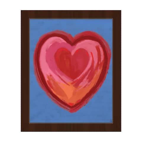 Holding Heart on Purple Framed Canvas Wall Art