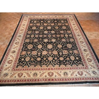 Tabriz Black Wool Hand-knotted Oriental Rug (10'3 x 13'4)