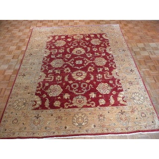 Peshawar Red Wool Hand-knotted Oriental Rug (8' x 9'8)