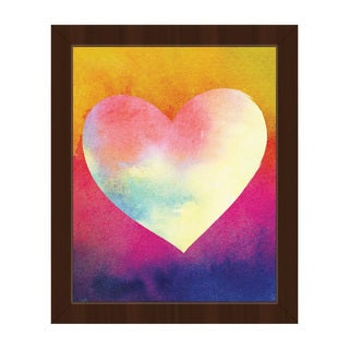 Canary Masked Heart Framed Canvas Wall Art Print
