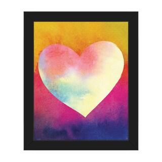 Canary Masked Heart Framed Canvas Wall Art Print