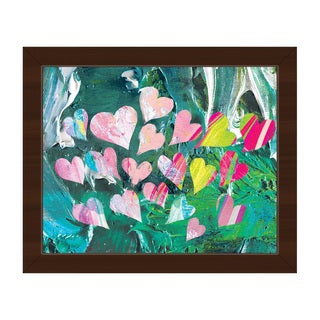 Fluttering Hearts Malachite Framed Canvas Wall Art