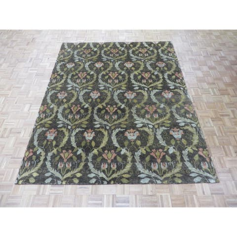 William Morris Oushak Brown Hand-knotted Wool Oriental Rug - 7'11 x 9'10