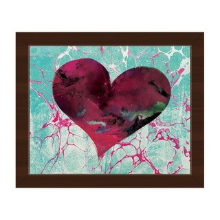 Teal Tale Heart Framed Canvas Wall Art Print