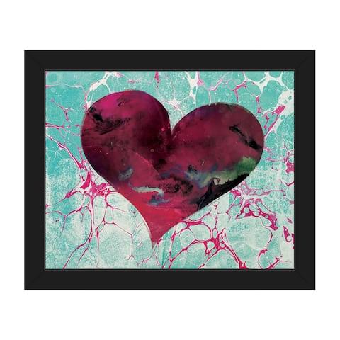 Teal Tale Heart Framed Canvas Wall Art Print