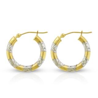 14k Yellow Gold Womens Fancy Diamond Cut Two Tone Tube Hoop Earrings