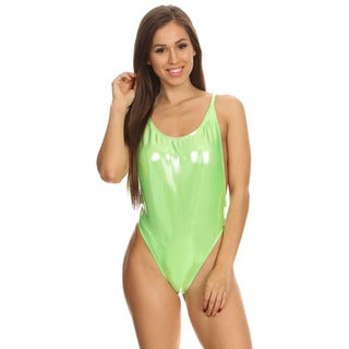 Dippin' Daisy's Green Shiny Womens High Cut Vintage Swimsuit