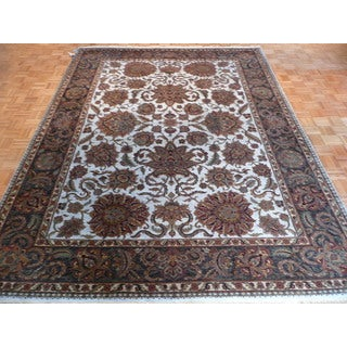 Agra and Rajasthan Multicolored Wool Hand-knotted Oriental Rug (8'11 x 11'10)