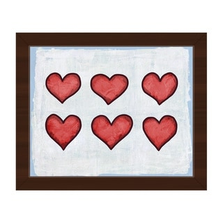 Row of Hearts Blue Framed Canvas Wall Art Print