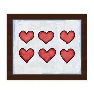 Row of Hearts Blue Framed Canvas Wall Art Print