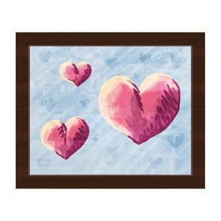 Sketchy Hearts on Blue Framed Canvas Wall Art