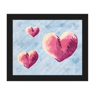 Sketchy Hearts on Blue Framed Canvas Wall Art