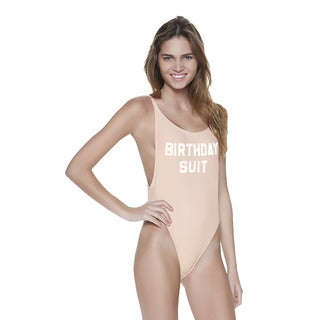 Dippin' Daisy's Blush Birthday Women's Beige Nylon and Spandex High-cut Vintage One Piece