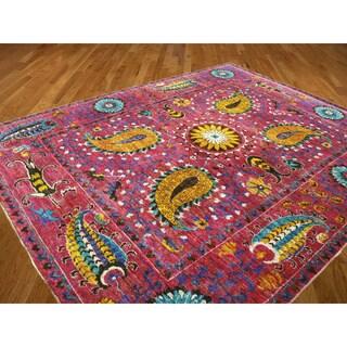 Magenta Silk Ikat Sari Oriental Handknotted Rug (8'2 x 10'2)