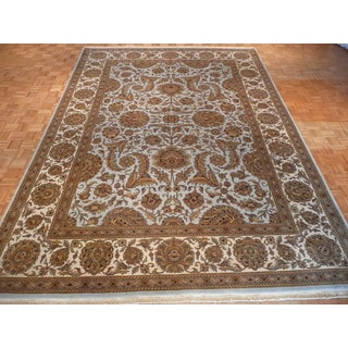 Hand-knotted Agra Light Blue Wool Oriental Rug (10' x 14'3)