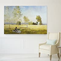 Claude Monet 'Meadow at Bezons' Canvas Wall Art