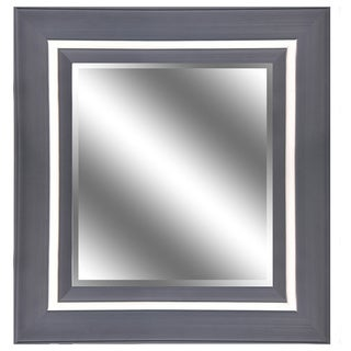 Y-Decor REFLECTION 23 x 27 x 1-inch Bevel Mirror with 5-inch Espresso Champagne Color Frame