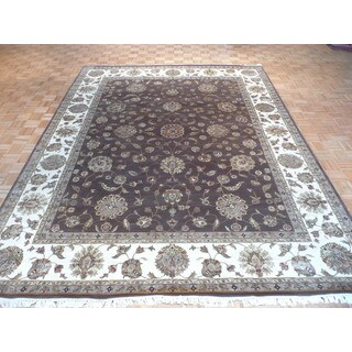 Hand-knotted Brown Tabriz with Wool and Silk Oriental Rug (9'1 x 12'1)