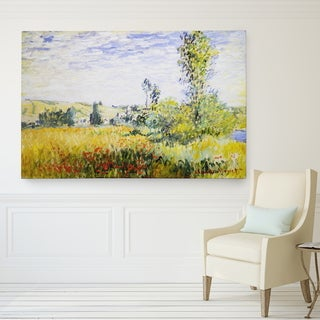 Claude Monet 'Landscape at Vetheuil' Wrapped Canvas Art