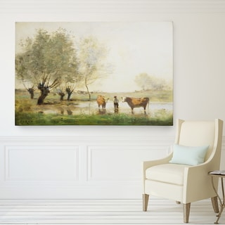 Wexford Home Jean-Baptiste Camille Corot 'Cows in Landscape' Giclee Print