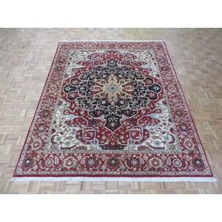Fine Hadji Jalili Tabriz Red Hand-knotted Wool Oriental Rug (7'11 x 9'9)