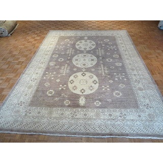 Hand-knotted Lavender Khotan Peshawar with Wool Oriental Rug (9' x 12')