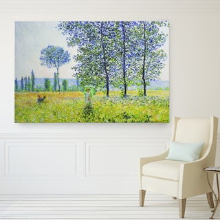 Claude Monet 'Field in Spring' Wrapped Canvas Wall Art