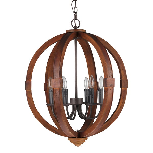Journee Home 'Oran' 28 in Wood 6 Light Hard Wired Orb Chandelier