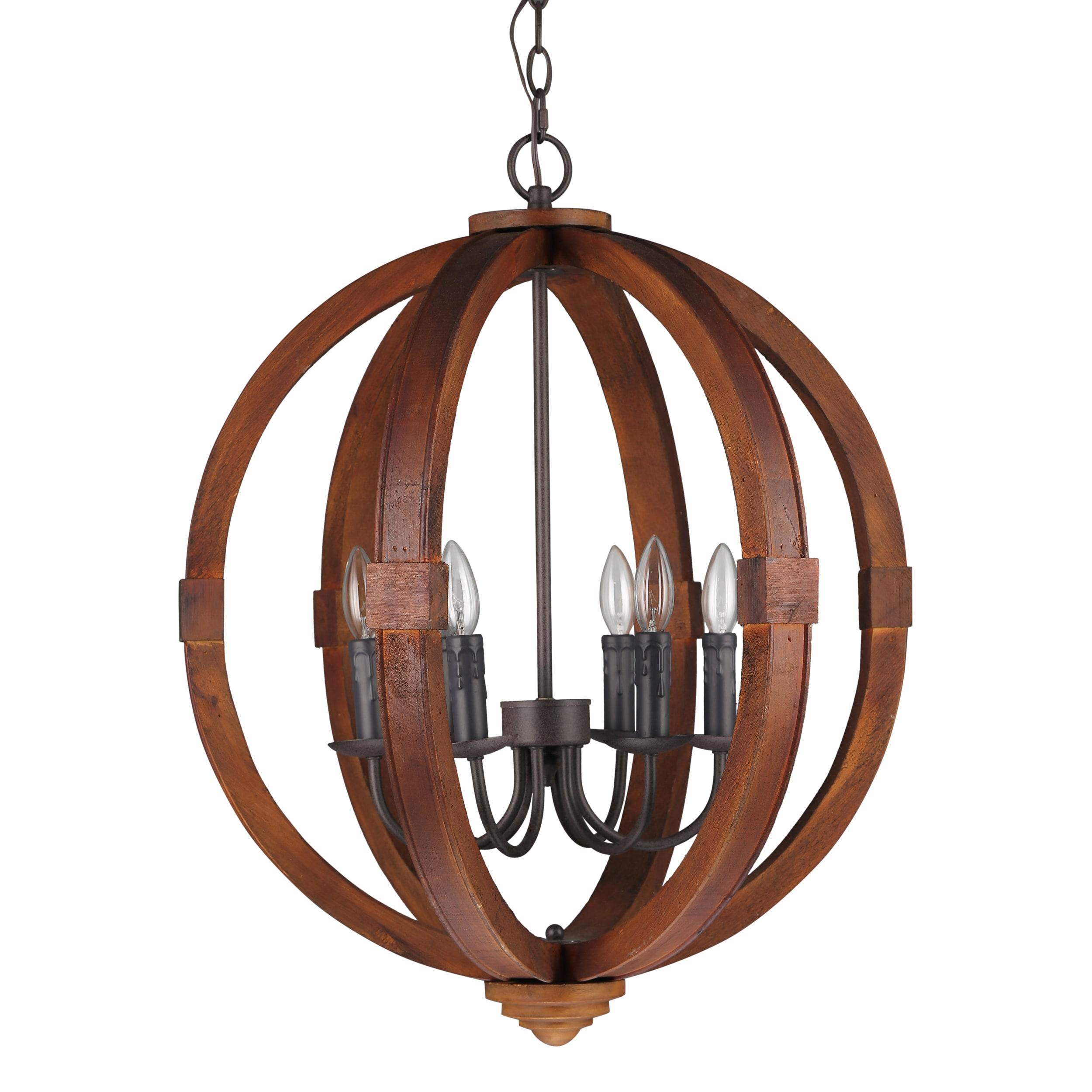 Journee Home Oran 28 in Wood 6 Light Hard Wired Orb Chandelier