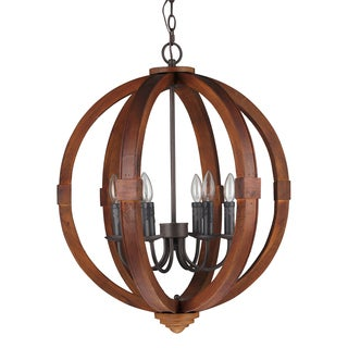 Journee Home 'Oran' 28 in Wood 6 Light Hard Wired Orb Chandelier