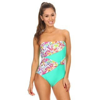 Dippin' Daisy's Mint Plaid Draped Overlay Strapless Bandeau One-Piece Swimsuit|https://ak1.ostkcdn.com/images/products/14063958/P20676878.jpg?impolicy=medium