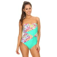Famous Maker Mint Plaid Draped Overlay Strapless Bandeau One-Piece Swimsuit