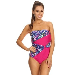 Dippin' Daisy's Women's Blue Plaid Draped Overlay Strapless Bandeau One-piece Swimwear