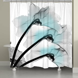 Laural Home Teal Floral X-Ray Shower Curtain