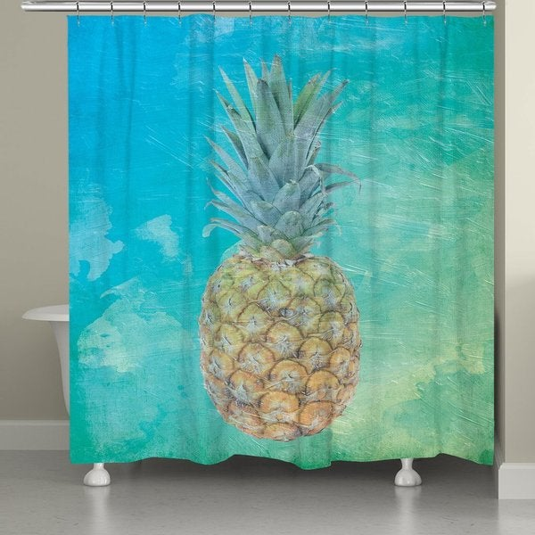 Laural Home Seaside Pineapple Shower Curtain